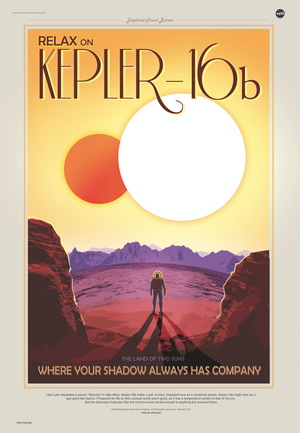 A poster suggests what the view on exoplanet Kepler-16b might be like.