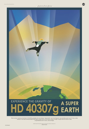 A poster invites visitors to experience the gravity of Super Earth HD 40307g.