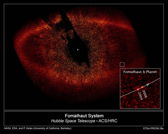 he Hubble Space Telescope's view of the star Fomalhaut and a directly imaged object encircling it, Fomalhaut b, thought to be an exoplanet.