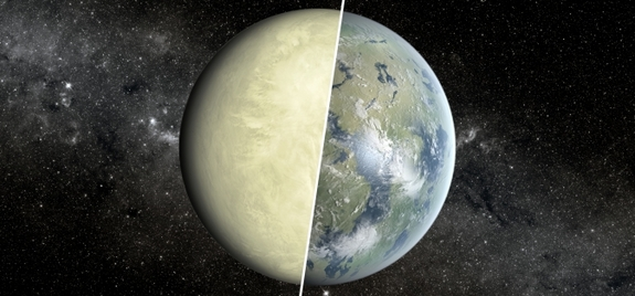 A super-Venus, illustrated on the left, would have a very different-looking surface brightness-wise from a super-Earth, drawn at right, with varying surface features, such as oceans and continents.