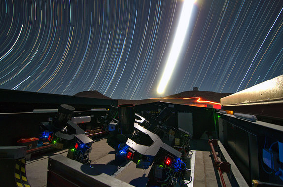 This night time long-exposure view shows the Next-Generation Transit Survey (NGTS) telescopes during testing.