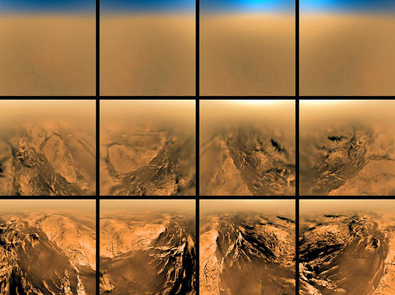 This series of images was taken by the European Space Agency's Huygens probe as it descended to the surface of Saturn's smoggy moon Titan on Jan. 14, 2005.