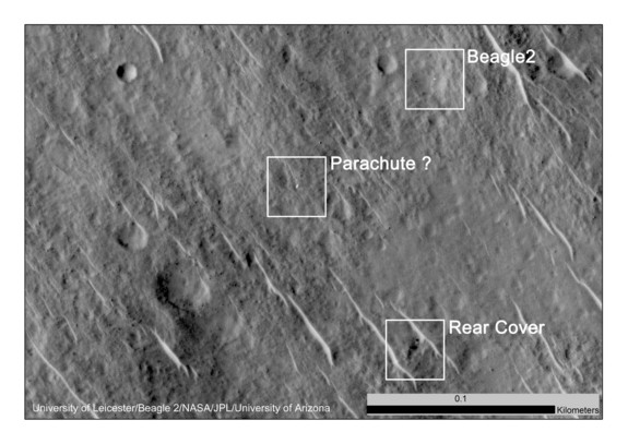 In 2014, NASA's Mars Reconnaissance Orbiter captured these images of the lost Beagle 2 lander on the surface of the Red Planet. This image shows the various components of the lander, which was lost on Mars in 2003. Image uploaded Jan. 16, 2015.