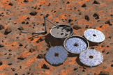 This artist's interpretation shows what the United Kingdom's Beagle 2 lander would have looked like if it deployed properly on Mars. Image uploaded Jan. 16, 2015.