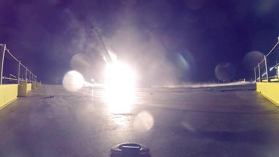 The boost stage of SpaceX's Falcon 9 rocket exploded on Jan. 10, 2015 as it impacted its landing platform in the Atlantic Ocean. Image released Jan. 16, 2015.