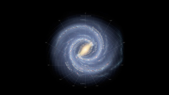 Caption: An artist's rendition of the Milky Way galaxy shows the major arms that have been identified by scientists, though they're not able to observe the galaxy face-on.
