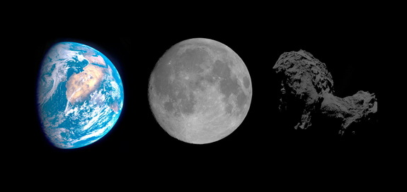 Scientists working with the European Space Agency's Rosetta mission have found that Comet 67P/Churyumov–Gerasimenko is darker than charcoal. It is compared to Earth and the moon in this image released on Jan. 22, 2015.