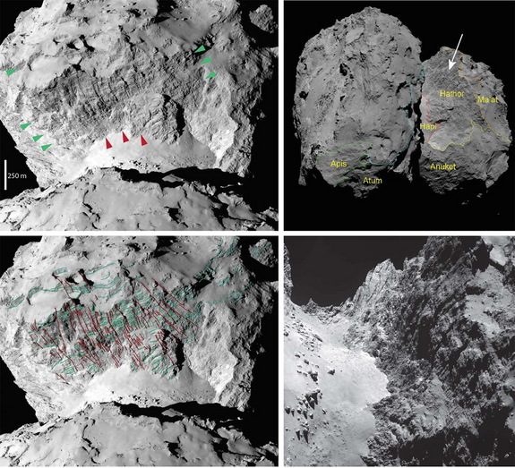 This close-up view of Comet 67P/Churyumov–Gerasimenko shows its diverse surface features.