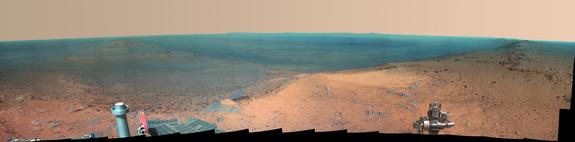 NASA's Mars rover Opportunity captured the photos that make up this panorama from the top of Cape Tribulation, a segment of the rim of Endeavour Crater, in January 2015. This version of the panorama is in false color, to highlight differences in surface materials.