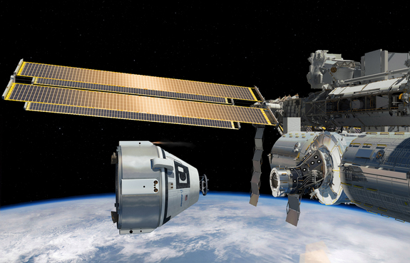 Artist's concept of Boeing's CST-100 spacecraft near the International Space Station.