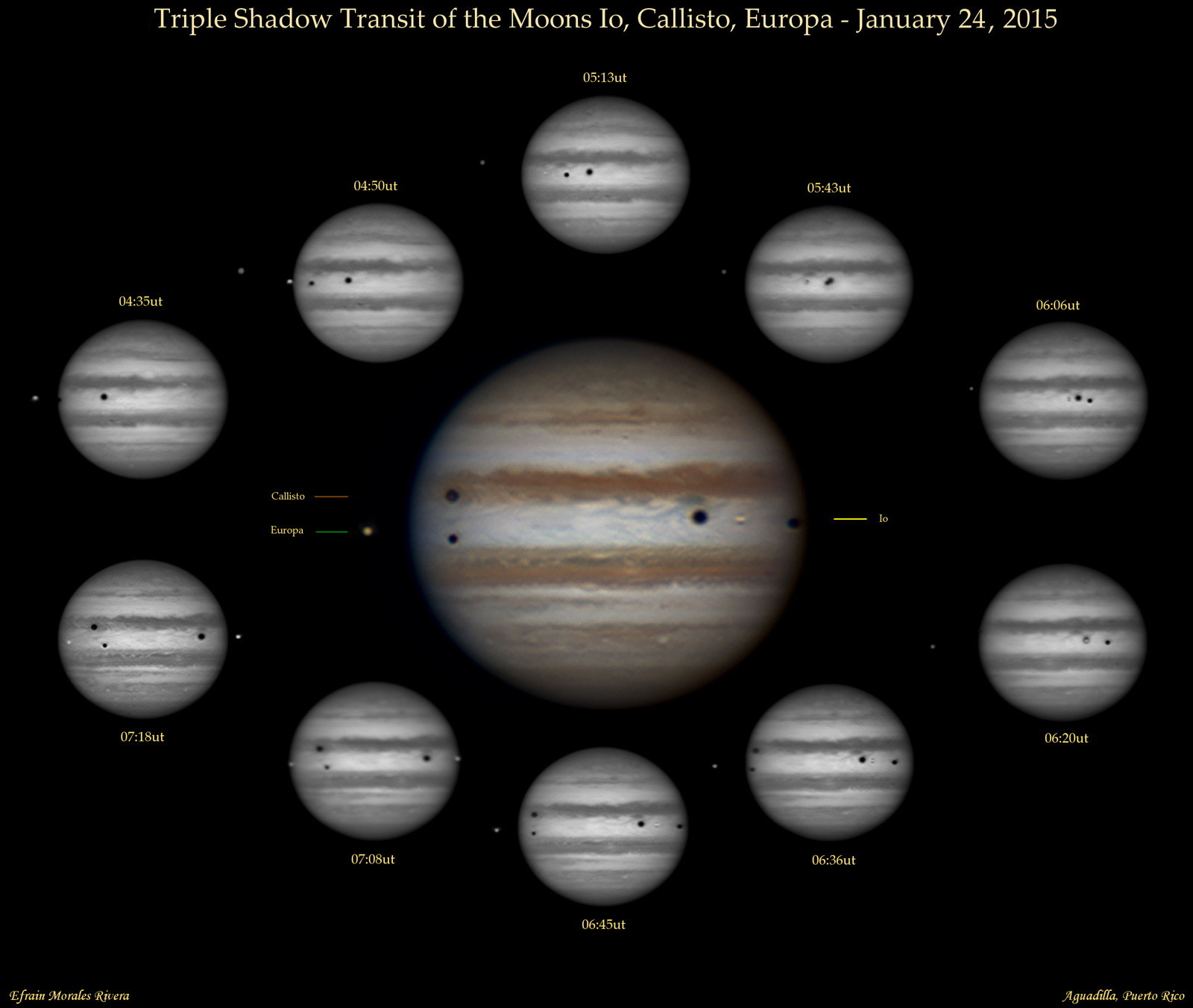 Triple Shadow Transit of Jupiter, Jan. 24, 2015