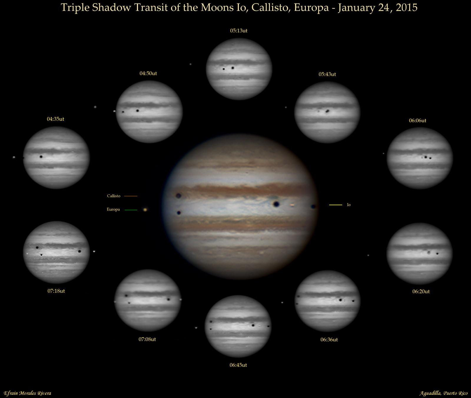 Triple Shadow Transit of Jupiter, Jan. 24, 2015