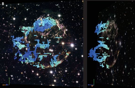 A telescopic image of Cassiopeia A is overlaid with data from the new observations that show the structure of the cavities inside the supernova remnant. The shaed of blue indicates how quickly the material is moving away from Earth, with dark blue moving fastest. The panel to the right shows the view angled 70 degrees.