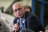 NASA Administrator Charles Bolden answers questions during a commercial crew press event on Jan. 26, 2015.