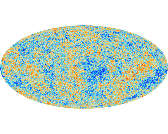 This all-sky map from the European Space Agency's Planck satellite shows the cosmic microwave background, the oldest light in the universe.