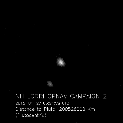 Pluto and Charon, the largest of Pluto's five known moons, were seen Jan. 27, 2015, by the telescopic Long-Range Reconnaissance Imager (LORRI) on NASA's New Horizons spacecraft.
