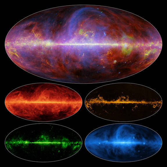 A view of the Milky Way in microwaves by the Planck satellite. The top view is a combination of the four bottom slides. Each of the four slides shows a different element: top left is dust, top right is gas, bottom right is light from charged particle interactions, and bottom right shows charged particles moving along the galaxy's magnetic field.