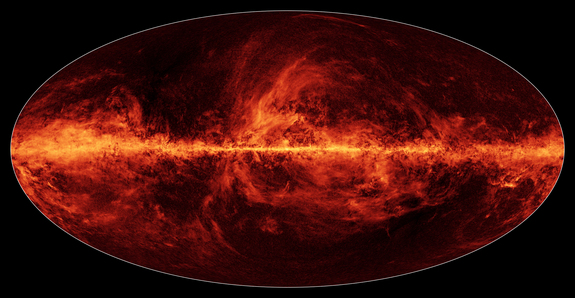 This map of the Milky Way shows the distribution of interstellar dust across the galaxy as seen by the Planck space observatory, a mission by the European Space Agency.