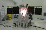Engineers conduct solar array tests on the Deep Space Climate Observatory satellite ahead of its Feb. 8, 2015 launch on a SpaceX Falcon 9 rocket.