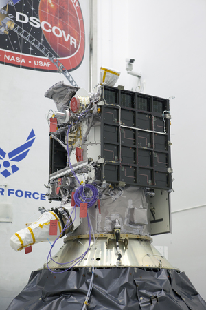 The Deep Space Climate Observatory space weather satellite is prepared for its Feb. 8, 2015 launch atop a SpaceX Falcon 9 rocket in Cape Canaveral, Florida. The satellite will is an early-warning system for solar storms, but will also observe the Earth.