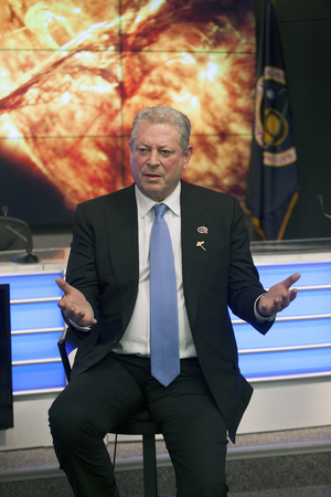 Former Vice President Al Gore speaks to reporters at NASA's Kennedy Space Center in Florida during the first launch attempt of the Deep Space Climate Observatory on Feb. 8, 2015, 17 years after Gore championed an earlier version of the mission called Triana.