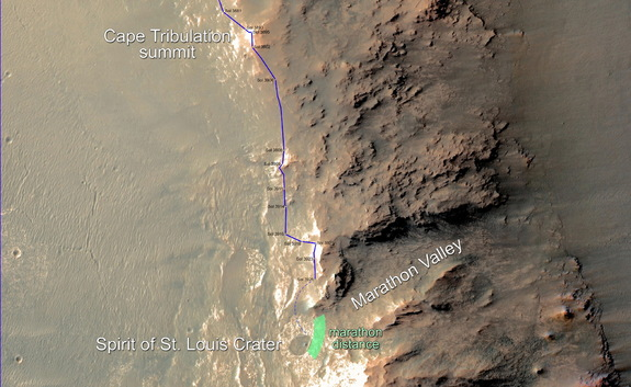 In February 2015, NASA's Mars Exploration Rover Opportunity approached a cumulative driving distance on Mars equal to the length of a marathon race. Image released Feb. 10, 2015.