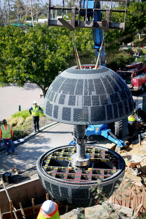 A new Death Star made of more than 500,000 LEGO bricks will be on display at LEGOLAND California March 5, 2015.