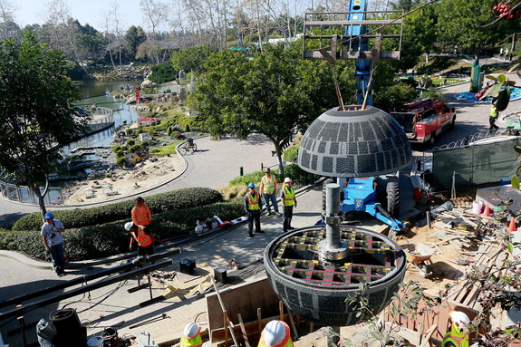 "The LEGO Death Star comes complete with the trench run scene made famous in the ""Star Wars"" movie. See the model at ""Star Wars"" Miniland at LEGOLAND California starting March 5, 2015."