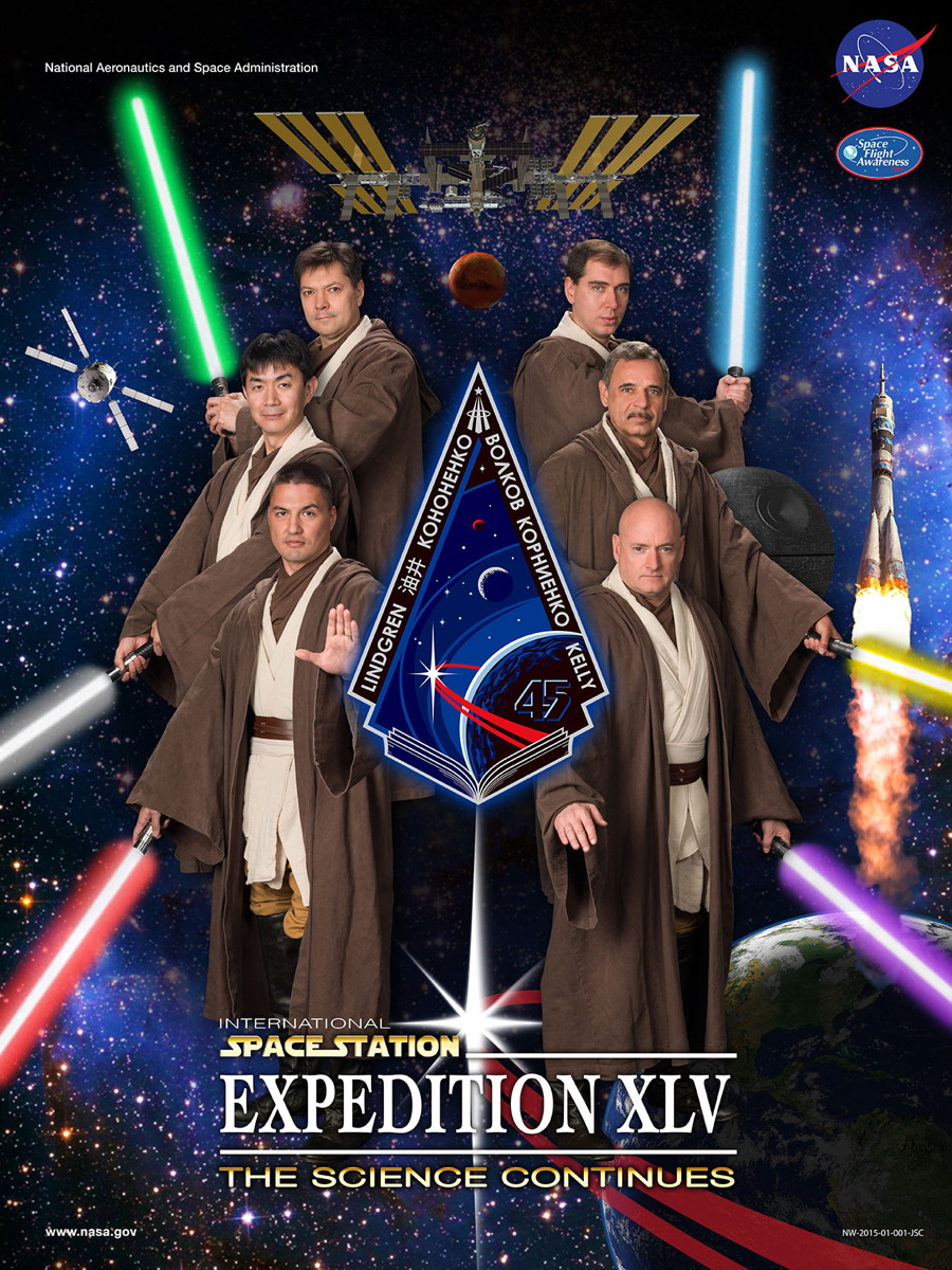 Future Space Station Crew Dons Jedi Robes for Star Wars-Inspired Poster