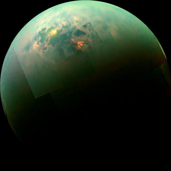 This near-infrared, color mosaic from NASA's Cassini spacecraft shows the sun glinting off of Titan's north polar seas. The sun glint, also called a specular reflection, is the bright area near the 11 o'clock position at upper left. This mirrorlike reflection, known as the specular point, is in the south of Titan's largest sea, Kraken Mare, just north of an island archipelago separating two separate parts of the sea.