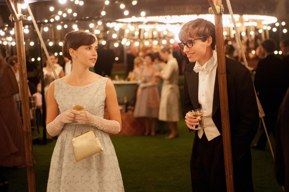 "Eddie Redmayne and Felicity Jones in the Stephen Hawking biopic ""The Theory of Everything,"" which was nominated for five Academy Awards."