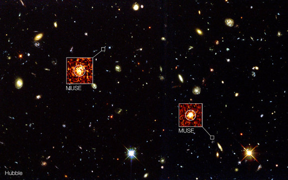 This new image from the MUSE instrument shows never-before-seen galaxies in stunning 3D. The Hubble Space Telescope also imaged this patch of sky in the 1990s. Image released on Feb. 26, 2015.