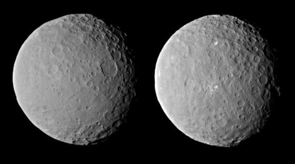 Mysterious bright spots are visible in these images of the dwarf planet Ceres, taken by NASA's Dawn spacecraft on Feb. 19, 2015 from a distance of about 29,000 miles (46,000 kilometers). Dawn observed Ceres for one full rotation, about nine hours.