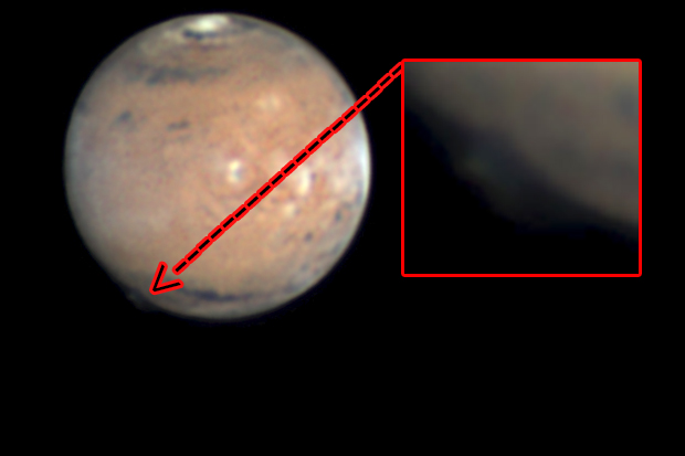 Plume on Mars with Inset Image