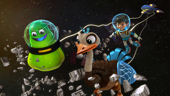 "Miles and his pet robotic ostrich Merc and an alien outside the Callisto family's starship in an episode of ""Miles from Tomorrowland,"" an animated Disney Junior TV show about a family traveling the universe."