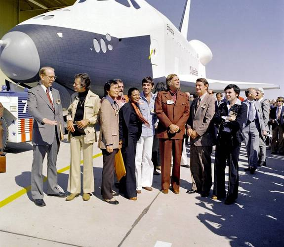 Actor Leonard Nimoy (center) posed with his fellow 'Star Trek' cast members in front of NASA's space shuttle Enterprise during the spacecraft prototype's unveiling in 1976. Nimoy died at age 83 on Feb. 27, 2015.