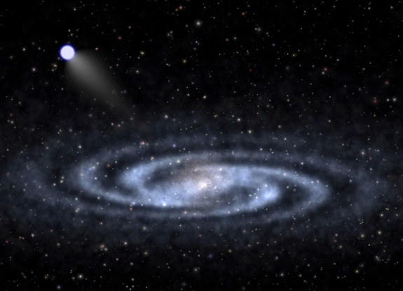 An astrophysicist-artist's conception of a hypervelocity star speeding away from the visible part of a spiral galaxy like our Milky Way. Hypervelocity star 708 is now the fastest-recorded star on its way out of the galaxy, and its origin story is highly unique.