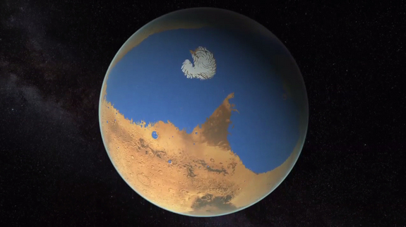 Maps of the water content in the atmosphere of Mars suggest the Red Planet once had an ocean that covered 20 percent of its surface, a fifth of the planet. Most of that water was lost to space.
