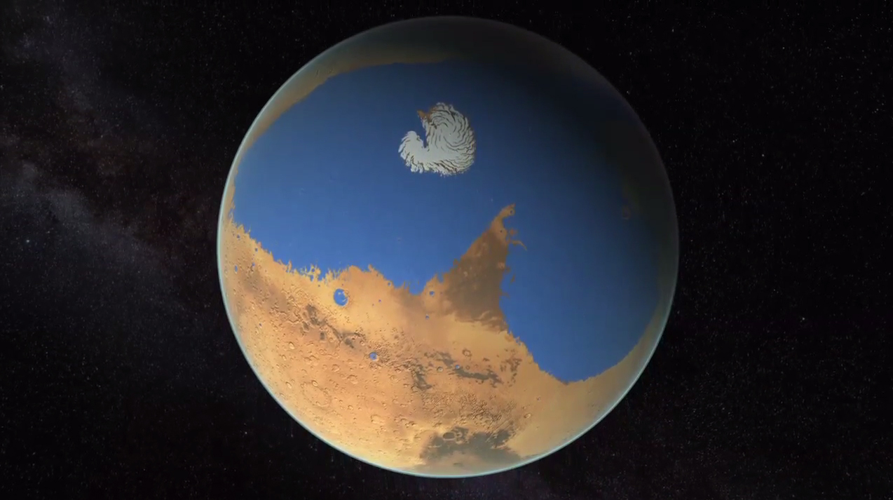 Ancient Mars Ocean Water Illustration