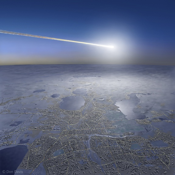 Artist's view of the detonation on Feb. 15, 2013, of a space rock over the Chelyabinsk region in Russia, considered a 21st-century warning shot.