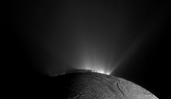 Saturn's icy moon Enceladus is home to many icy geysers at its south pole as seen in this view from NASA's Cassini spacecraft on Nov. 30, 2010.