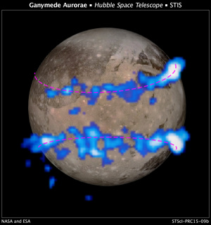 NASA Hubble Space Telescope images of Ganymede's auroral belts (colored blue in this illustration) lie on top of a Galileo orbiter image of the moon. The amount of rocking of the moon's magnetic field supplied evidence that the moon possesses a subsurface saltwater ocean. Image released March 12, 2015.