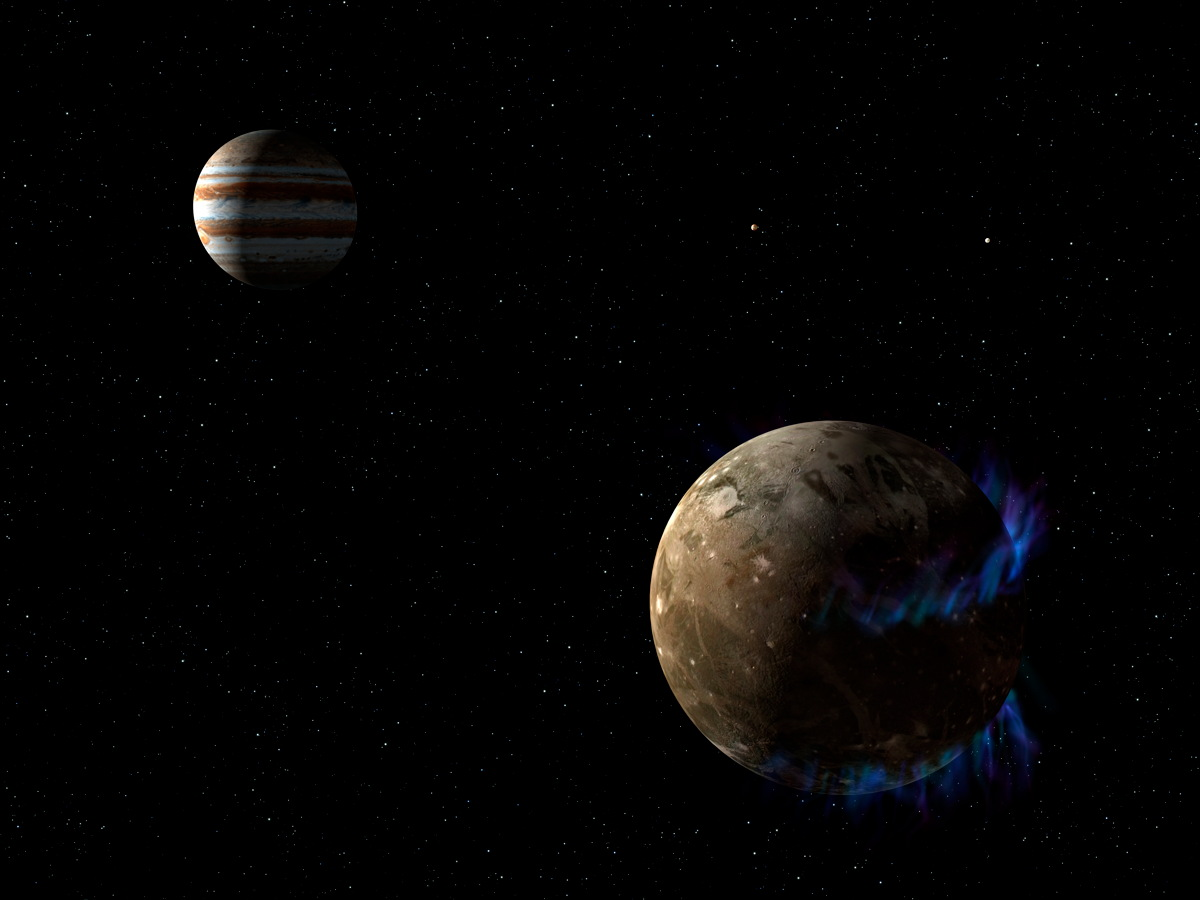 Artist's Conception of Ganymede with Auroras