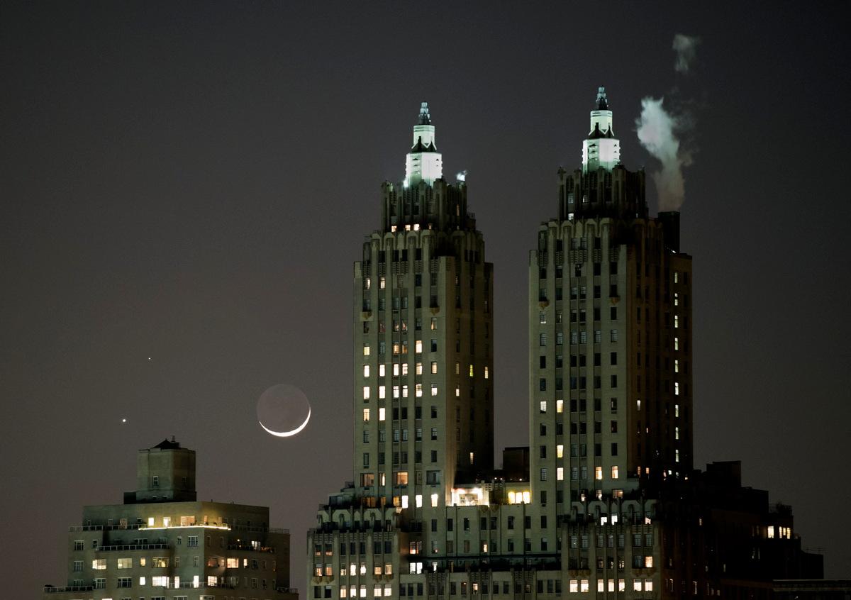 The Moon, Venus and Mars Over Manhattan Skyline