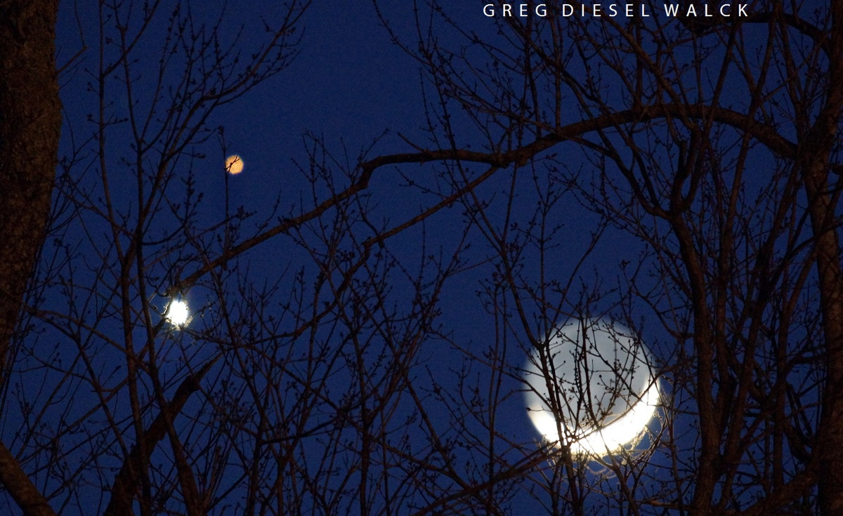 The Moon, Venus and Mars Seen in North Carolina