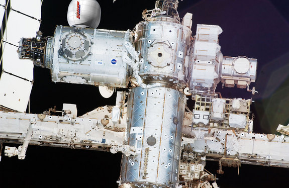 How Bigelow Aerospace's Bigelow Expandable Activity Module (BEAM) will look after its arrival at the International Space Station in 2015.