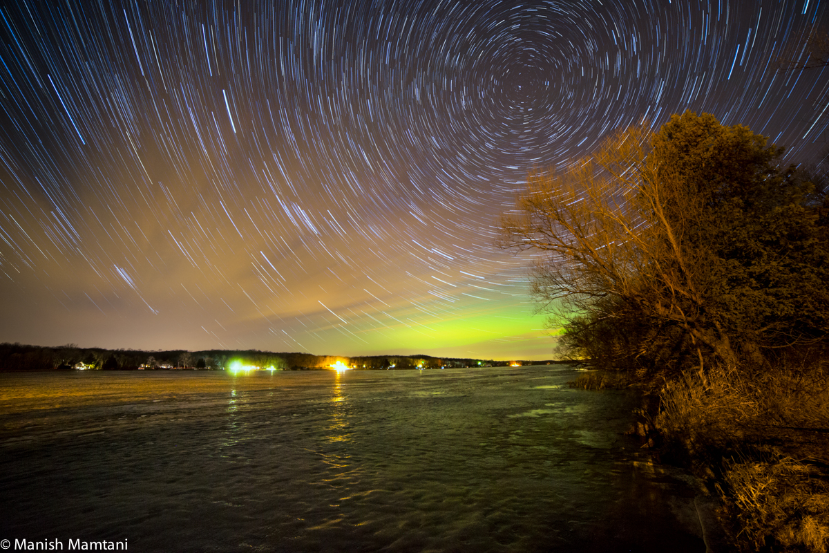 Aurora and Star Trails Over Wisconsin