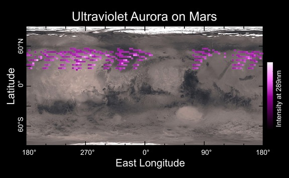 Map of auroras on Mars detected by the Imaging UltraViolet Spectrograph instrument aboard NASA's MAVEN probe in December 2014. The aurora was widespread in the Red Planet's northern hemisphere.