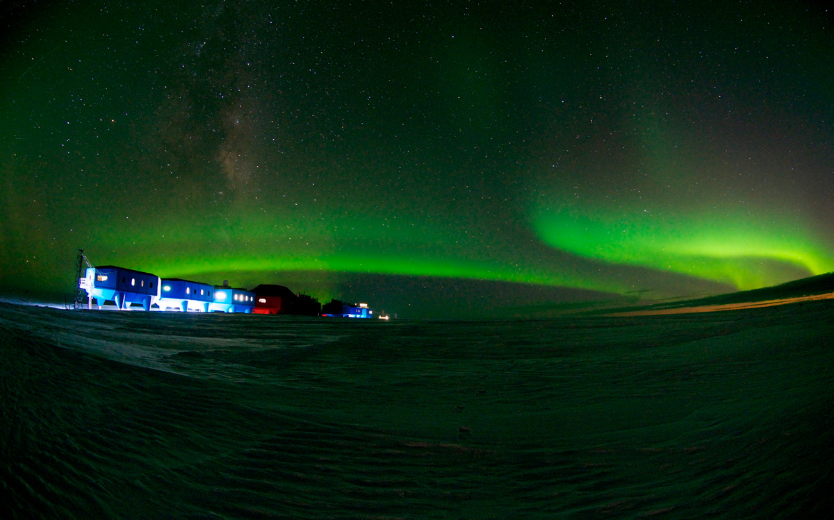Auroras Over Halley Research Station