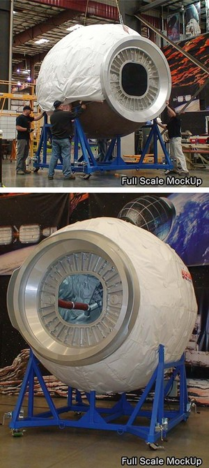 A mockup of Bigelow Aerospace's inflatable BEAM module is seen at the company's Las Vegas headquarters. BEAM, or the Bigelow Expandable Activity Module, will be delivered to the International Space Station in 2015.